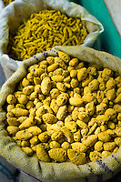 Yellow turmeric on sale at Khari Baoli spice and dried foods market, Old Delhi, India