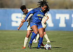 BROOKINGS, SD, OCTOBER 21: Leah Manuleleua #11 from South Dakota State controls the ball in front of Chamelle Wiltshire #11 from Oral Roberts during their match Sunday afternoon at Fischback Soccer Field in Brookings. (Dave Eggen/Inertia)