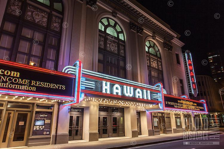 Hawai'i Theatre at night, downtown Honolulu, O'ahu.