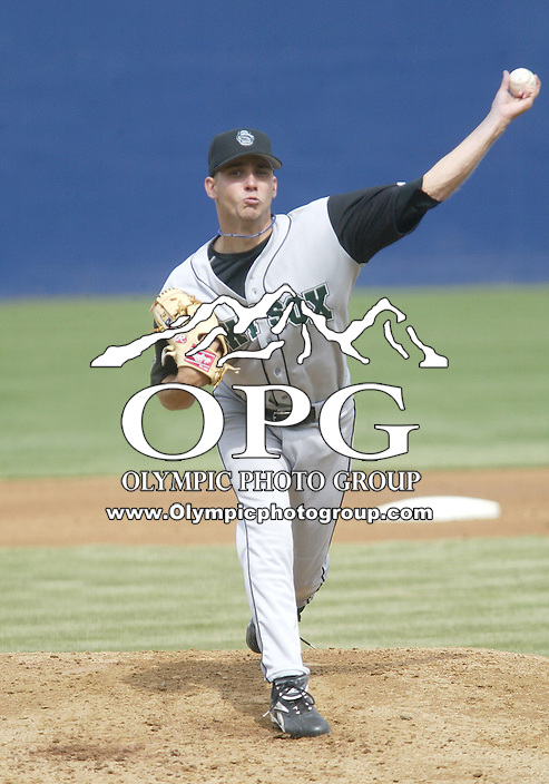 9 April 2005:   Colorado Springs Sky Sox starting pitcher Zack Parker fires the ball to the plate against the Tacoma Rainiers at Cheney Stadium in Tacoma, Washington.