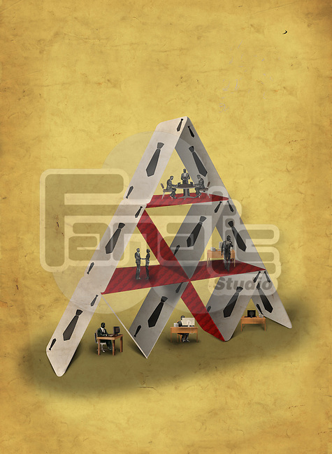 Illustrative image of pyramid made of cards representing teamwork
