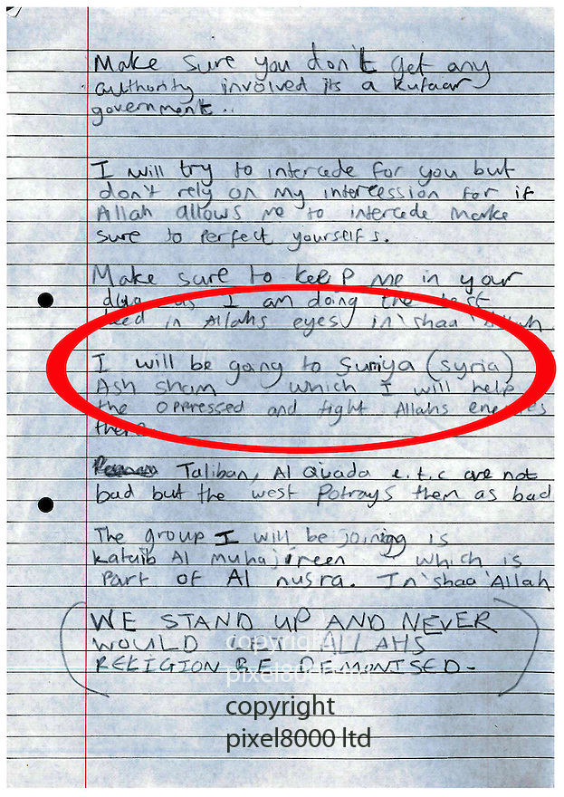 Mohammed Nahin Ahmed and Yusuf Zubair Sarwar admit terror offences<br /> <br /> Pic shows: Letter left by Sarwar<br /> Picture by  Pixel8000 07917221968