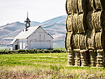 Hay bale stack, one-room schoolhouse, Corral, Idaho.<br /> <br /> The school was used between 1908 and 1953.