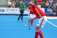 Ollie Willars of England controls a high pass during the Hockey World League Semi-Final match between England and Argentina at the Olympic Park, London, England on 18 June 2017. Photo by Steve McCarthy.