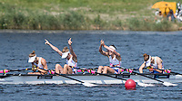 Rotterdam. Netherlands.  Gold Medalist. GBR LW4X:  Bow, Brianna Stubbs, Emily Craig, Imogen Walsh and Eleanor Piggott Non Olympic Classes World Championships, Finals.  2016 JWRC, U23 and Non Olympic Regatta. {WRCH2016}  at the Willem-Alexander Baan.   Saturday  27/08/2016 <br /> <br /> [Mandatory Credit; Peter SPURRIER/Intersport Images]