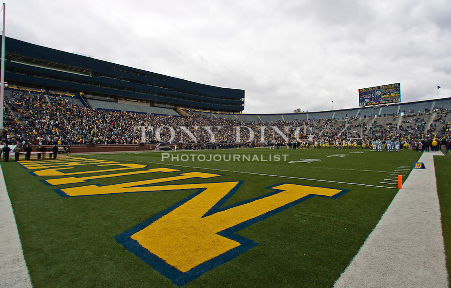 Michigan Stadium, with newly constructed structures containing luxury suites and a new press box, filled with 35,000 to watch the Wolverines' spring football game, Saturday, April 17, 2010, in Ann Arbor, Mich. (AP Photo/Tony Ding)