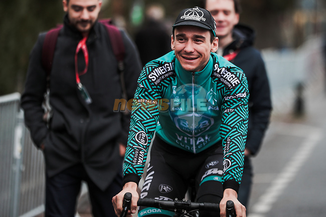 Bryan Coquard (FRA) B&B Hotels-Vital Concept P/B KTM at sign on before Stage 3 of the 78th edition of Paris-Nice 2020, running 212.5km from Chalette-sur-Loing to La Chatre, France. 10th March 2020.<br /> Picture: ASO/Fabien Boukla | Cyclefile<br /> All photos usage must carry mandatory copyright credit (© Cyclefile | ASO/Fabien Boukla)