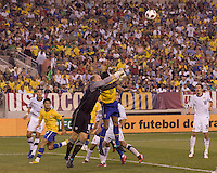 USA goalkeeper Brad Guzan (18) punches out a corner kick. Brazil  defeated the US men's national team, 2-0, in a friendly at Meadowlands Stadium on August 10, 2010.