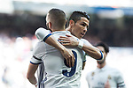 Cristiano Ronaldo and Karim Benzema of Real Madrid celebrates after scoring a goal during the match of  La Liga between Real Madrid and Deportivo Alaves at Bernabeu Stadium Stadium  in Madrid, Spain. April 02, 2017. (ALTERPHOTOS / Rodrigo Jimenez)