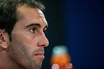 Diego Godin of Atletico de Madrid during the press conference before the match of Uefa Champions League between Atletico de Madrid and Bayern Leverkusen at Vicente Calderon Stadium  in Madrid, Spain. March 14, 2017. (ALTERPHOTOS / Rodrigo Jimenez)