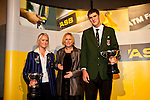 Linley Wood from the ASB with the overall Young Spotsman & Sportswoman of the Year winners, Samantha Harrison (Hockey) & Robert Loe (Basketball). ASB College Sport Auckland Secondary School Young Sports Person of the Year Awards held at Eden Park on Thursday 12th of September 2009.