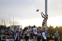 30th November 2013; Fergal Walsh, Terenure, wins possession for his side from a line-out. Ulster Bank League Division 1B, Corinthians v Terenure, Corinthian Park, Galway. Picture credit: Tommy Grealy/actionshots.ie.
