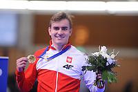 SCHAATSEN: BERLIJN: Sportforum Berlin, 07-12-2014, ISU World Cup, Winner 1500m Men Division A, Jan Szymanski (POL), ©foto Martin de Jong