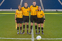 Bridgeview, IL, USA - Sunday, May 29, 2016: Assistant referee Becky Pagan, fourth official Alex Beehler, referee Matthew Franz, and assistant referee Maggie Short before a regular season National Women's Soccer League match between the Chicago Red Stars and Sky Blue FC at Toyota Park. The game ended in a 1-1 tie.