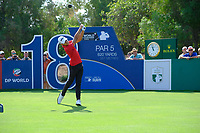 Joakim Lagergren (SWE) on the 18th tee during the final round of the DP World Tour Championship, Jumeirah Golf Estates, Dubai, United Arab Emirates. 18/11/2018<br /> Picture: Golffile | Fran Caffrey<br /> <br /> <br /> All photo usage must carry mandatory copyright credit (© Golffile | Fran Caffrey)