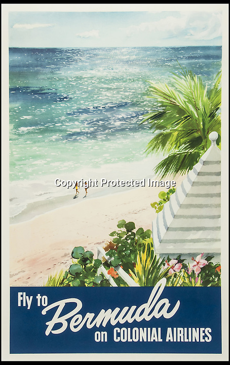 BNPS.co.uk (01202 558833)<br /> Pic: Bloomsbury/BNPS<br /> <br /> ***Please Use Full Byline***<br /> <br /> FLY TO BERMUDA ON COLONIAL AIRLINES , offset lithograph in colours, printed by Mardon Son and Hall, Ltd. Bristol.<br /> <br /> Scarce vintage travel posters that hark back to the halcyon days of travel across the globe in the 1930s are tipped to sell for £50,000.<br /> <br /> The fine collection of over 100 works of art were used to advertise dream holiday destinations in far-flung places and the luxurious ways of reaching them.<br /> <br /> Most of the advertising posters date back to the 1920s and 1930s and are Art Deco in style.<br /> <br /> They are a celebration of the various modes of transport used by wealthy tourists in the days before air travel and package holidays.<br /> <br /> They are being sold at London auctioneers Bloomsbury next week.