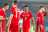Neil Taylor of Wales looks dejected at full time of the International Friendly match between Wales and Panama at the Cardiff City Stadium, Cardiff, Wales on 14 November 2017. Photo by Mark Hawkins.