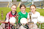 CHAMPIONS: Individual winners at the Kerry Primary Schools Girls Skills Finals in Fitzgerald Stadium Killarney on Friday last..L/r. Laura Rogers (Moyderwell NS, Tralee) 3rd, Olivia Dawson (Gael Scoil Cill Airne) winner and Niamh Carmody (Ballylongford NS) 2nd.   Copyright Kerry's Eye 2008