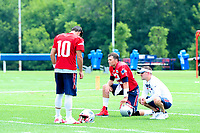 July 28, 2017: New England Patriots quarterback Tom Brady (12) takes a break with quarterback Jimmy Garoppolo (10) and offensive coordinator Josh McDaniels at the New England Patriots training camp held at Gillette Stadium, in Foxborough, Massachusetts. Eric Canha/CSM