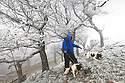 27/01/17<br />  <br /> After temperatures plunged to minus four degrees celsius last night, Phil Voss, takes his springer spaniels, Buster and Dexter for a walk to explore an ice-coated landscape.  The phenomenon, which is NOT snow is known as hoar frost and was spotted on Mam Tor near near Castleton in the Derbyshire Peak District this morning.<br /> <br /> All Rights Reserved F Stop Press Ltd. (0)1773 550665 www.fstoppress.com