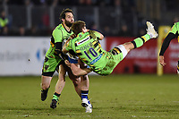 Will Hurrell of Bath Rugby sends Piers Francis of Northampton Saints flying. Aviva Premiership match, between Bath Rugby and Northampton Saints on February 9, 2018 at the Recreation Ground in Bath, England. Photo by: Patrick Khachfe / Onside Images
