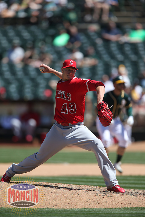 OAKLAND, CA - APRIL 30:  Garrett Richards #43 of the Los Angeles Angels pitches against the Oakland Athletics during the game at O.co Coliseum on Thursday, April 30, 2015 in Oakland, California. Photo by Brad Mangin