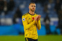9th November 2019; King Power Stadium, Leicester, Midlands, England; English Premier League Football, Leicester City versus Arsenal; Calum Chambers of Arsenal applauds his team's travelling fans after the final whistle - Strictly Editorial Use Only. No use with unauthorized audio, video, data, fixture lists, club/league logos or 'live' services. Online in-match use limited to 120 images, no video emulation. No use in betting, games or single club/league/player publications