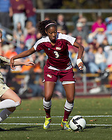 Florida State midfielder Casey Short (3) controls the ball as Boston College defender closes. Florida State University defeated Boston College, 1-0, at Newton Soccer Field, Newton, MA on October 31, 2010.
