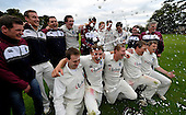 Cricket Scotland - Scottish Championship Grand Final - Watsonians CC V Dumfries CC- at Grange Loan (Edinburgh) - splashes of champagne signify victory for Watsonians  - 08.9.12 - 07702 319 738 - clanmacleod@btinternet.com - www.donald-macleod.com