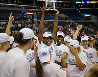 LOS ANGELES, CA - March 10, 2012: Stanford University woman's basketball team PAC 12 Woman's Basketball Champions at the Staples Center in Los Angeles California. Final score Stanford won 77-62.