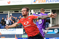 Jack Marriott of Luton Town celebrates his equalising goal during the Sky Bet League 2 match between Luton Town and Doncaster Rovers at Kenilworth Road, Luton, England on 24 September 2016. Photo by Liam Smith.