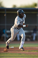 AZL Padres 1 second baseman Lee Solomon (28) starts down the first base line after hitting a home run during an Arizona League game against the AZL Padres 2 at Peoria Sports Complex on July 25, 2018 in Peoria, Arizona. The AZL Padres 1 defeated the AZL Padres 2 10-1. (Zachary Lucy/Four Seam Images)