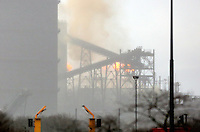 VIDEO AVAILABLE<br /> Pictured: Smoke coming from a reported fire at the Tata Port Talbot Steelworks in south Wales, UK. Thursday 11 February 2016