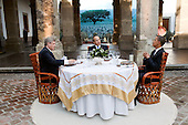 Guadalajara, Mexico - August 10, 2009 -- United States President Barack Obama, Canada's Prime Minister Stephen Harper, left, and and Mexico's President Felipe Calderon, center, sit down for a working dinner at the North American Leaders' Summit in Guadalajara, Mexico, August 10, 2009. .Mandatory Credit: Pete Souza - White House via CNP
