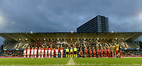 20190903 - LEUVEN , BELGIUM : both team line ups pictured before the female soccer game between the Belgian Red Flames and Croatia , the first womensoccer game for Belgium in the qualification for the European Championship round in group H for England 2021, Tuesday 3 th September 2019 at the King Power Stadion Den Dreef in Leuven , Belgium. PHOTO SPORTPIX.BE | DAVID CATRY