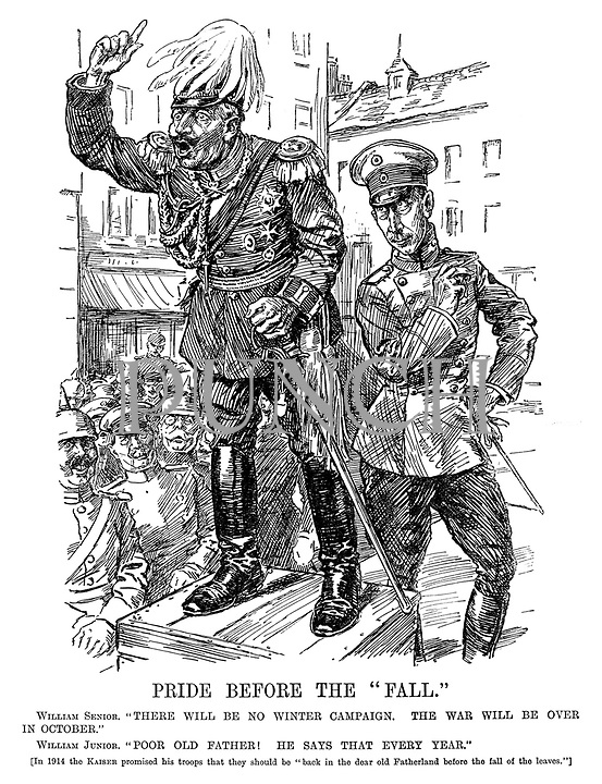 """Pride Before The """"Fall."""" William Senior. """"There will be no winter campaign. The war will be over in October."""" William Junior. """"Poor old father! He says that every year."""" [In 1914 the Kaiser promised his troops that they should be """"back in dear old Fatherland before the fall of the leaves.""""]"""