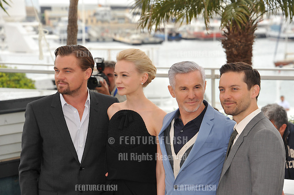 "Leonardo DiCaprio, director Baz Luhrmann, Carey Mulligan & Tobey Maguire at the photocall for their movie ""The Great Gatsby"" at the 66th Festival de Cannes..May 15, 2013  Cannes, France.Picture: Paul Smith / Featureflash"