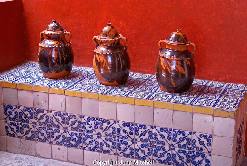 Ceramic jars in the  Museo Casa del Alfenique, Puebla, Mexico. The historical center of Puebla is a UNESCO World Heritage Site.