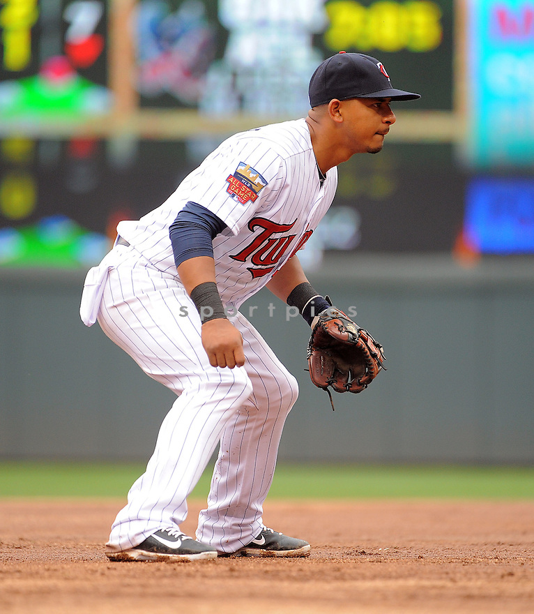 Minnesota Twins Eduardo Escobar (5) during a game against the Kansas City Royals on August 17, 2014 at Target Field in Minneapolis, MN. The Royals beat the Twins 12-6.