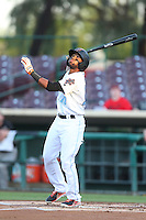 Sherman Johnson #10 of the Inland Empire 66ers bats against the Modesto Nuts at San Manuel Stadium on May 28, 2014 in San Bernardino, California. Modesto defeated Inland Empire, 3-2. (Larry Goren/Four Seam Images)