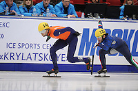 "SHORT TRACK: MOSCOW: Speed Skating Centre ""Krylatskoe"", 13-03-2015, ISU World Short Track Speed Skating Championships 2015, 500m Men, Daan BREEUWSMA (#146 | NED), Yuri CONFORTOLA (#131 | ITA), ©photo Martin de Jong"