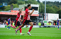 Lincoln City's Tyler Walker, right, celebrates scoring the opening goal with team-mate Joe Morrell<br /> <br /> Photographer Chris Vaughan/CameraSport<br /> <br /> The EFL Sky Bet League One - Lincoln City v Sunderland - Saturday 5th October 2019 - Sincil Bank - Lincoln<br /> <br /> World Copyright © 2019 CameraSport. All rights reserved. 43 Linden Ave. Countesthorpe. Leicester. England. LE8 5PG - Tel: +44 (0) 116 277 4147 - admin@camerasport.com - www.camerasport.com