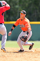 Baltimore Orioles minor league player Austin Knight #55 during a spring training game vs the Boston Red Sox at the Buck O'Neil Complex in Sarasota, Florida;  March 22, 2011.  Photo By Mike Janes/Four Seam Images