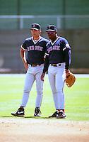 Boston Red Sox Tim Naehring and Mo Vaughn during spring training circa 1992 at Dunedin Stadium in Dunedin, Florida.  (MJA/Four Seam Images)