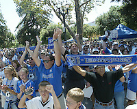 San Jose Earthquakes fan cheer at the Soccer Silicon Valley Rally held in downtown San Jose, CA on August 20, 2004.  An estimated 1,500 fans showed up to support the club.  The non-profit Soccer Silicon Valley group hope to find a local buyer or soccer specific stadium for the Earthquakes within the next month so the team is not relocated to San Antonio or Houston, TX by its current investor/operator Anschutz Entertainment Group.
