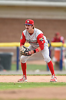 Williamsport Crosscutters third baseman Derek Campbell (9) during the second game of a doubleheader against the Batavia Muckdogs on July 29, 2014 at Dwyer Stadium in Batavia, New York.  Batavia defeated Williamsport 1-0 in 11 innings.  (Mike Janes/Four Seam Images)