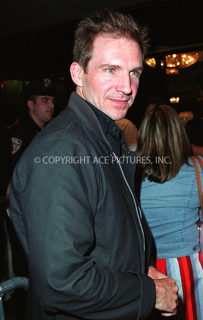 Ralph Fiennes goes to see Robin Williams live show on Broadway at the Broadway Theater in New York, July 14, 2002. Please byline: Alecsey Boldeskul/NY Photo Press.   ..*PAY-PER-USE*      ....NY Photo Press:  ..phone (646) 267-6913;   ..e-mail: info@nyphotopress.com