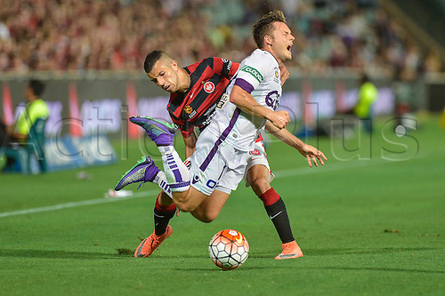 26.02.2016. Pirtek Stadium, Parramatta, Australia. Hyundai A-League. Western Sydney Wanderers versus Perth Glory. Perth forward Chris Harold is fouled by Wanderers forward Jaushua Sotirio. The Wanderers won 2-1.