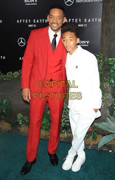 Will Smith and Jaden Smith<br /> The New York Premiere of &quot;After Earth&quot; at the Ziegfeld Theatre, New York, NY., USA.<br /> May 29th, 2013<br /> full length black tie white shirt red suit father dad son waistcoat<br /> CAP/LNC/TOM<br /> &copy;LNC/Capital Pictures