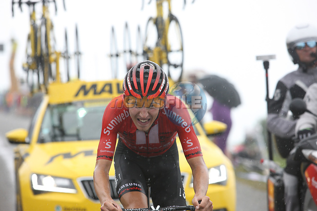 Super ride from Lennard Kämna (GER) Team Sunweb finishing 6th on Prat d'Albis during Stage 15 of the 2019 Tour de France running 185km from Limoux to Foix Prat d'Albis, France. 20th July 2019.<br /> Picture: Colin Flockton | Cyclefile<br /> All photos usage must carry mandatory copyright credit (© Cyclefile | Colin Flockton)